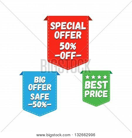 Special Offer, Big Offer and Best Price Marks. Vector illustration.