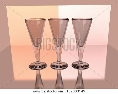 Champagne wine goblets 3D render with reflections