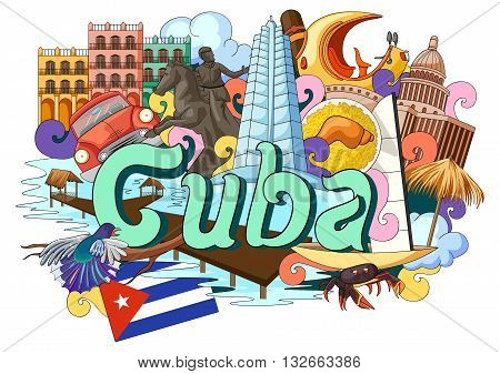 vector illustration of Doodle showing Architecture and Culture of  Cuba