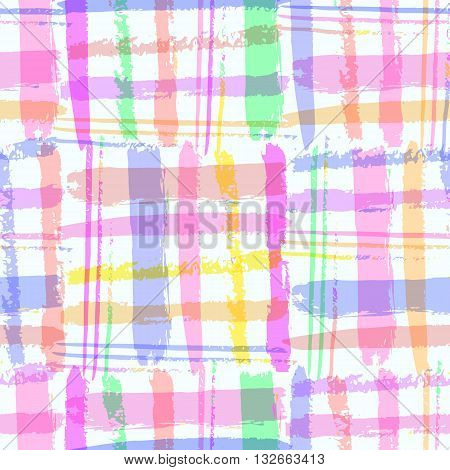 Bright  Vivid Hand Drawn Seamless Pattern With  Vertical And Horizontal Stripes. Fantasy Multicolore