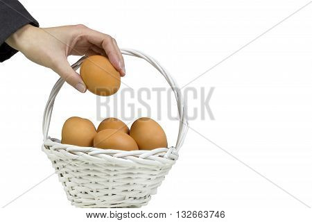 Putting all eggs in one basket, over a white background.