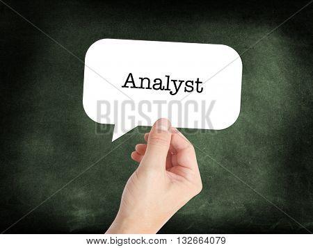 Analyst written in a speechbubble