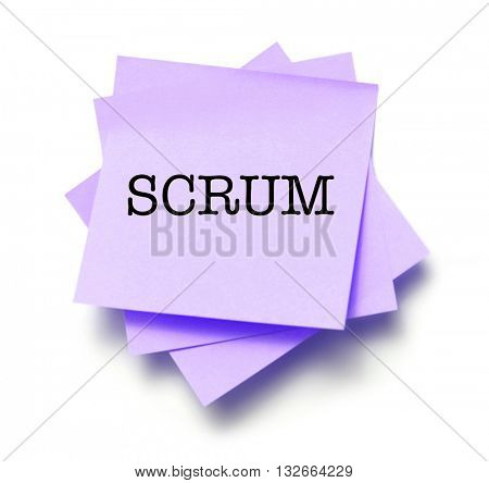 Scrum written on a note