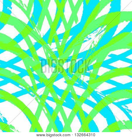 Fantasy abstract seamless pattern made with ink. Bright freehand grid texture. Blue and green modern freehand background with destroyed lines. Vector illustration.