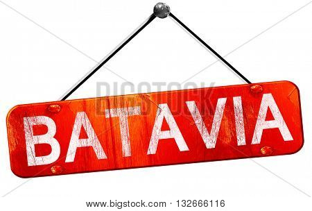 batavia, 3D rendering, a red hanging sign