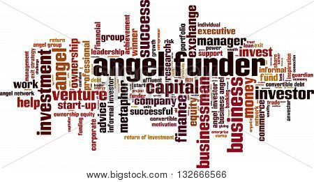 Angel funder word cloud concept. Vector illustration