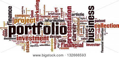 Portfolio word cloud concept. Vector illustration on white