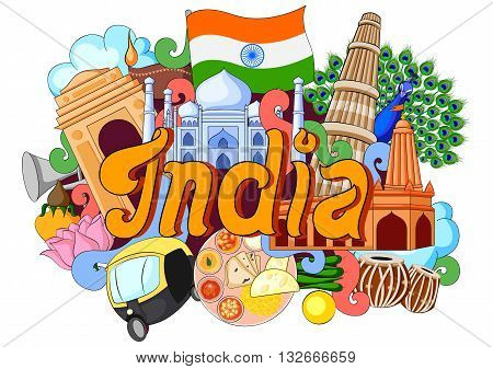 vector illustration of Doodle showing Architecture and Culture of India