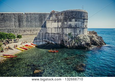 Dubrovnik Croatia - August 26 2015. People on kayak in front of Fort Bokar in Dubrovnik