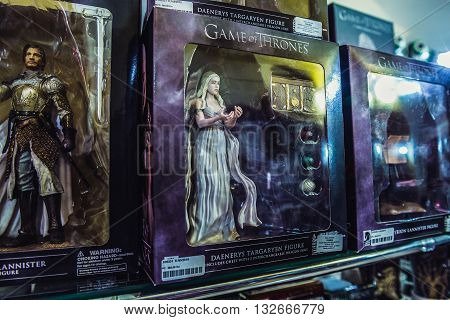 Dubrovnik Croatia - August 26 2015. Game of Thrones series figures in tourist shop located on the Old Town of Dubrovnik