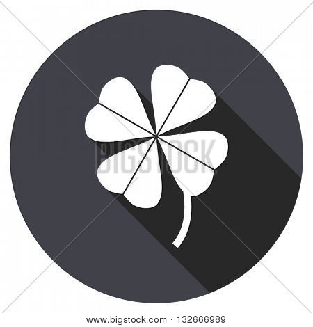 four-leaf clover vector icon, circle flat design internet button, web and mobile app illustration