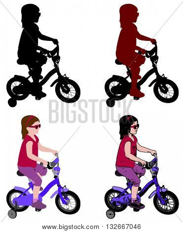 little girl riding bicycle silhouette and illustration