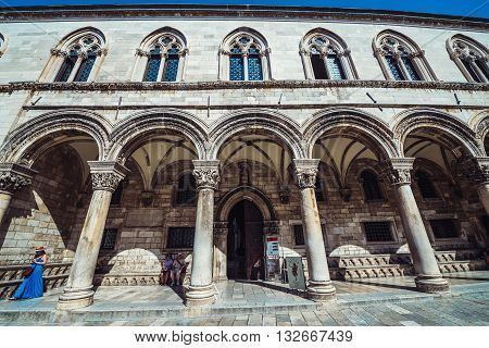 Dubrovnik Croatia - August 26 2015. Main facade of the Rector's Palace on the Old Town of Dubrovnik