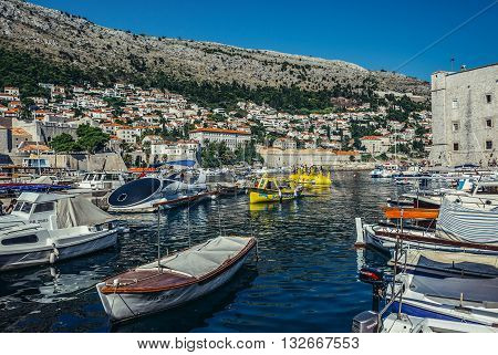 Dubrovnik Croatia - August 26 2015. Boats in Old Town Harbour in Dubrovnik