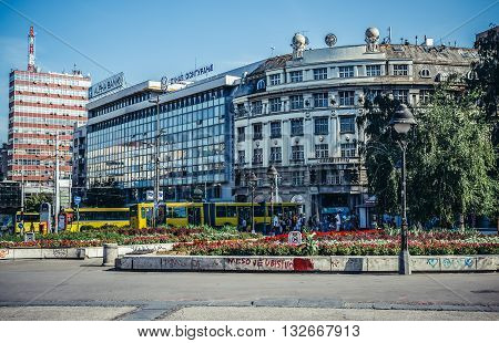 Belgrade Serbia - August 29 2015. View on one of the main squares in Belgrade called Square of the Republic