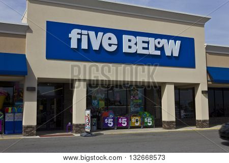 Indianapolis - Circa June 2016: Five Below Retail Store. Five Below is a chain that sells products that cost up to $5 IV