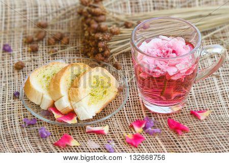Afternoon tea break rose tea with in the garden