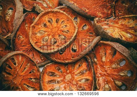 Close up slices of dried bael fruit