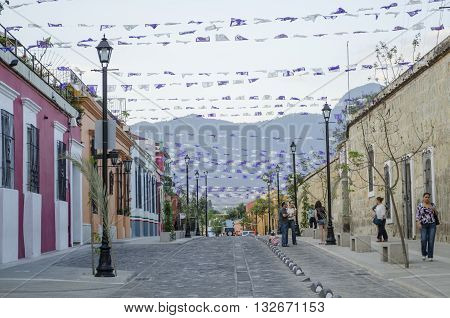 OAXACA MEXICO-MARCH 21, 2016: Street view in Oaxaca Mexico on March 21 2016. Oaxaca is the capital and largest city of the Mexican state of the same name.