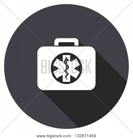 rescue kit vector icon, circle flat design internet button, web and mobile app illustration
