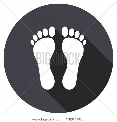 foot vector icon, circle flat design internet button, web and mobile app illustration