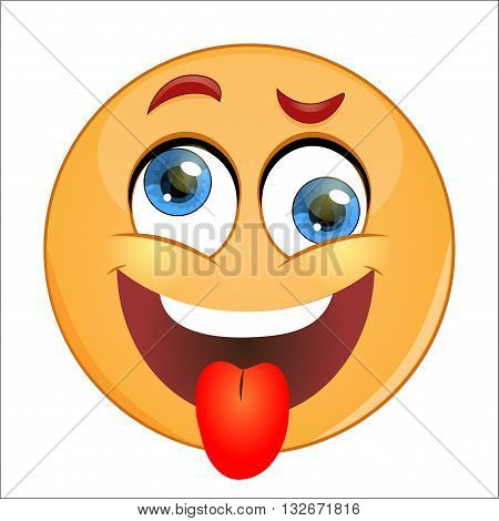 Crazy Yellow Smiley showing tongue. Vector illustration.