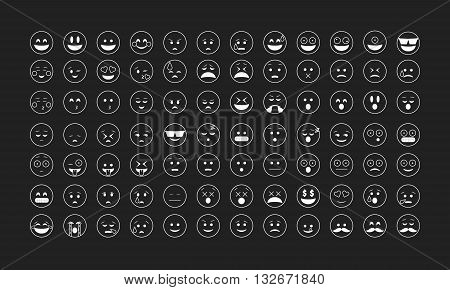 Set of white outline emoticon vector isolated on black background. Emoji vector. Smile icon set. Emoticon icon web.