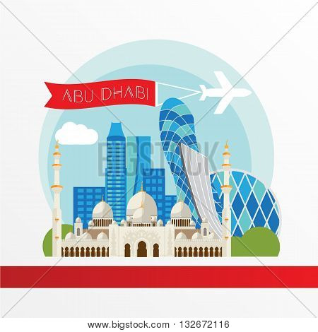 Abu Dabhi detailed silhouette. Trendy vector illustration flat style. Stylish colorful landmarks. The concept for a web banner. Sheikh Zayed Mosque - The symbol of United Arab Emirates