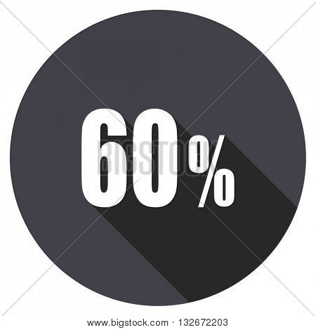 60 percent vector icon, circle flat design internet button, web and mobile app illustration