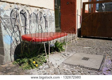 Bench in front of a cafe in Berlin-Kreuzberg