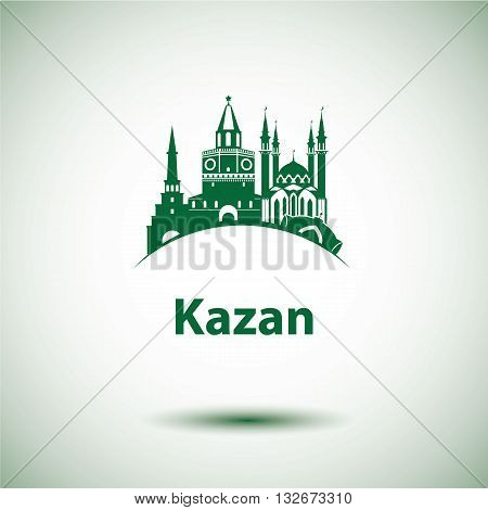 Kazan detailed silhouette. Trendy vector illustration flat style. The Qolsarif Mosque and Soyembika Tower the symbol of Kazan Republic of Tatarstan Russia