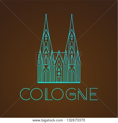 World famous Cologne cathedral. Greatest Landmarks of europe.. Linear vector icon for Koln Germany. Travel sighn