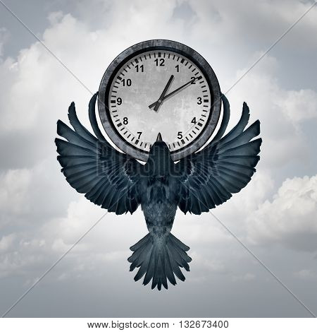 Time flies concept as a bird with open wings lifting up a clock as a metaphor for management of deadline or managing appointments with 3D illustration elements.