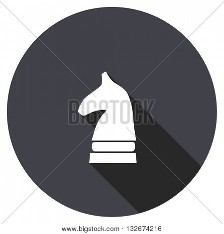 chess horse vector icon, circle flat design internet button, web and mobile app illustration