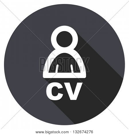 cv vector icon, circle flat design internet button, web and mobile app illustration