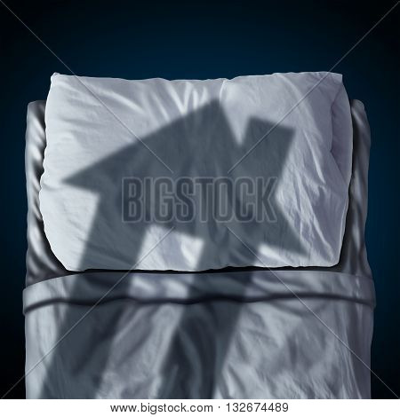 Dream house symbol and dreaming of a family home as a cast shadow of a residence on a bed and pillow as a real estate planning or insurance mortgage worry in a 3D illustration style.