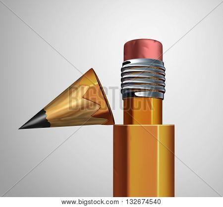 Corrective strategy as an open pencil revealing an eraser inside as a business revision metaphor for making changes and corrections or revising a contract as a 3D illustration.