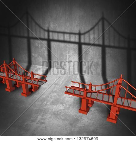 Connecting a bridge business concept as a broken elevated path casting a shadow that unites the empty space with 3D illustration elements.