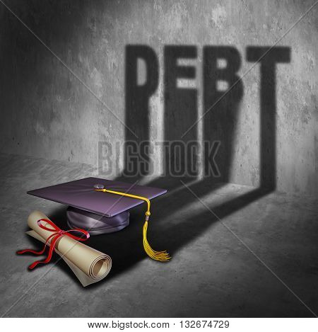College debt and student financial concept as a graduation mortar board and diploma with a cast shadow as an icon for tuition loan repayment or lending and education financing with 3D illustration elements.