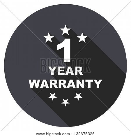 warranty guarantee 1 year vector icon, circle flat design internet button, web and mobile app illustration