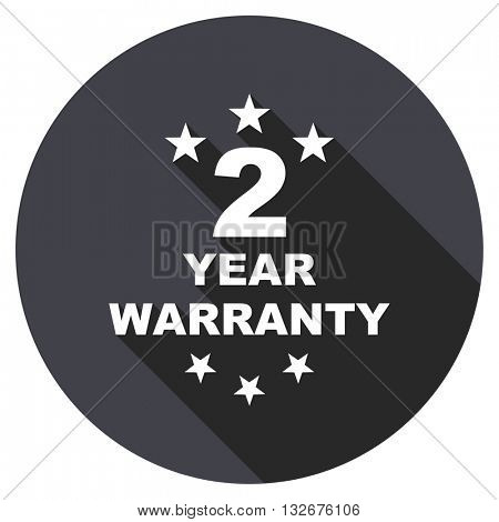 warranty guarantee 2 year vector icon, circle flat design internet button, web and mobile app illustration