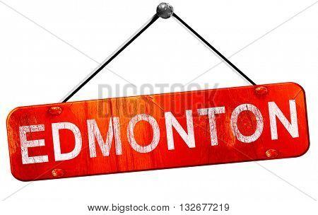 Edmonton, 3D rendering, a red hanging sign