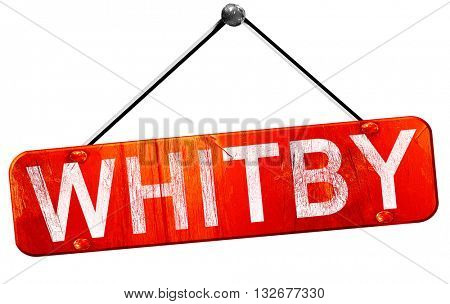 Whitby, 3D rendering, a red hanging sign