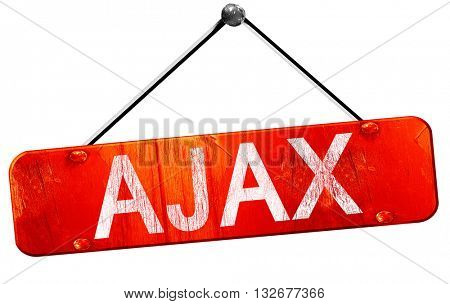 Ajax, 3D rendering, a red hanging sign