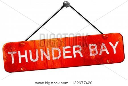 Thunder bay, 3D rendering, a red hanging sign