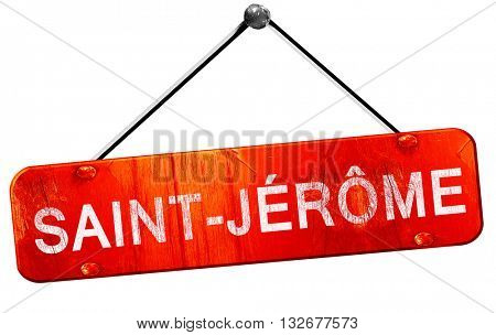 Saint-jerome, 3D rendering, a red hanging sign
