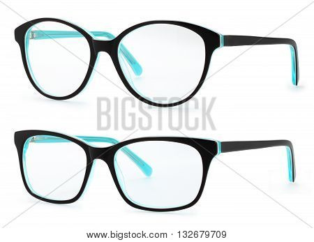 black and blue spectacles isolated on white background