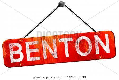benton, 3D rendering, a red hanging sign