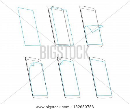 smart phone screen protector outline vector illustration EPS