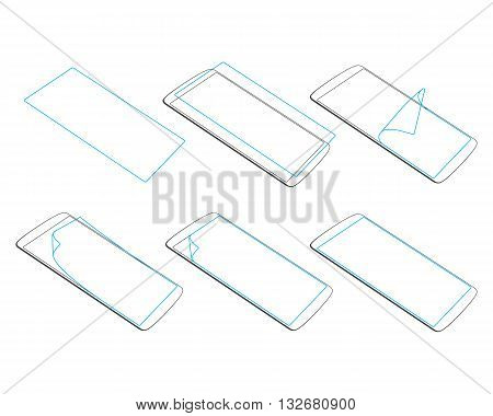 set apply screen protector on gadgets silhouette vector illustration EPS